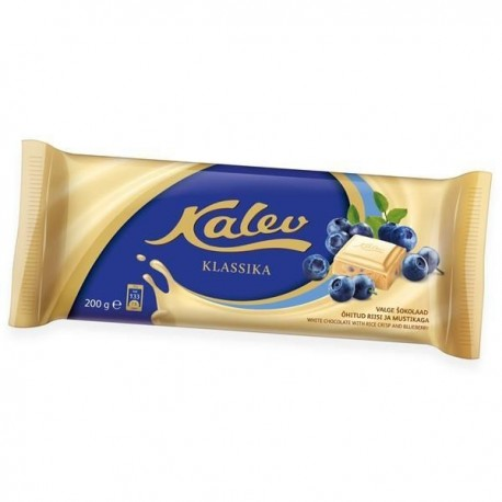 Kalev white chocolate with rice crisp and blueberry 95g